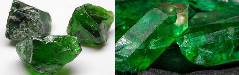 Đá Diopside ( trái ) và đá Emerald ( phải ).