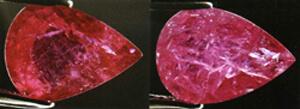Bên trái là viên ruby chứa thủy tinh chì lấp đầy. Bên phải, sau khi ngâm viên ruby này trong dung dịch xút 1 giờ, thủy tinh chì bị hòa tan làm lộ ra các khe nứt mà trước đó không thể thấy được ở chính viên đá ấy. Hình của C.P. Smith.