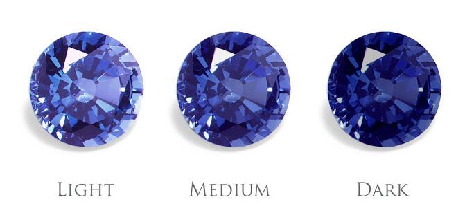 Tông màu xanh đậm nhạt của đá Sapphire.