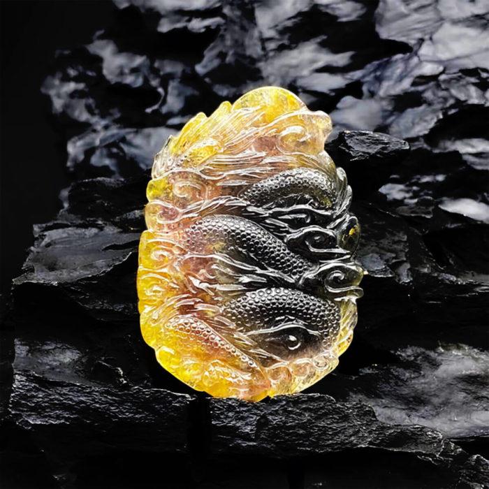 Mặt Phật Bà Quan Thế Âm Bồ Tát Cưỡi Rồng Tourmaline #MTM0001 2