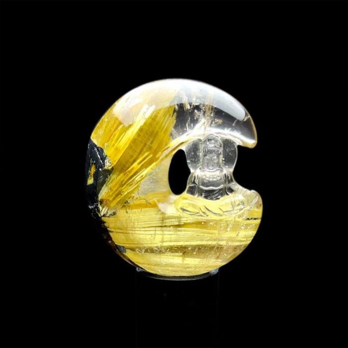 Mặt Quan Thế Âm Bồ Tát Toạ Nguyệt - Thạch Anh Tóc Vàng Bã Mía #MTV-1220-33 1