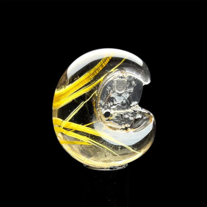 Mặt Quan Thế Âm Bồ Tát Toạ Nguyệt - Thạch Anh Tóc Vàng Bã Mía #MTV-1220-34 1