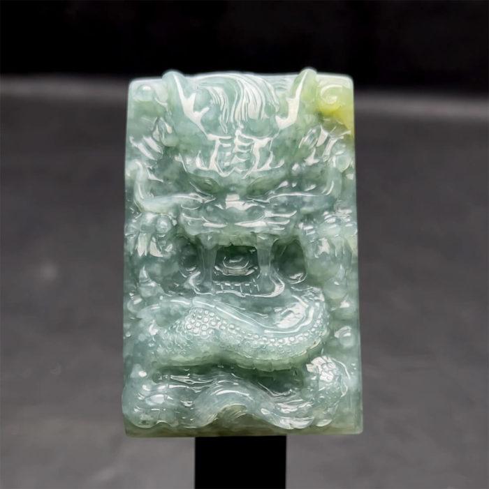 Mặt Rồng - Ngọc Cẩm Thạch Lam Dầu Huyết - Chuẩn A #MCTA-210108-07 1