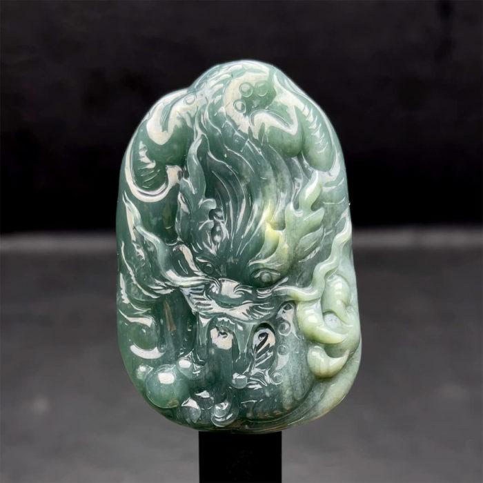 Mặt Rồng - Ngọc Cẩm Thạch Lam Dầu - Chuẩn A #MCTA-210108-08 1