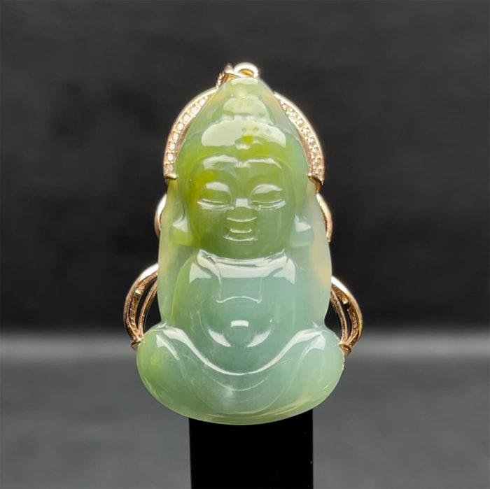Mặt Tiểu Phật A Di Đà - Ngọc Cẩm Thạch Lam Dầu - Chuẩn A #MCTA-210116-01 1