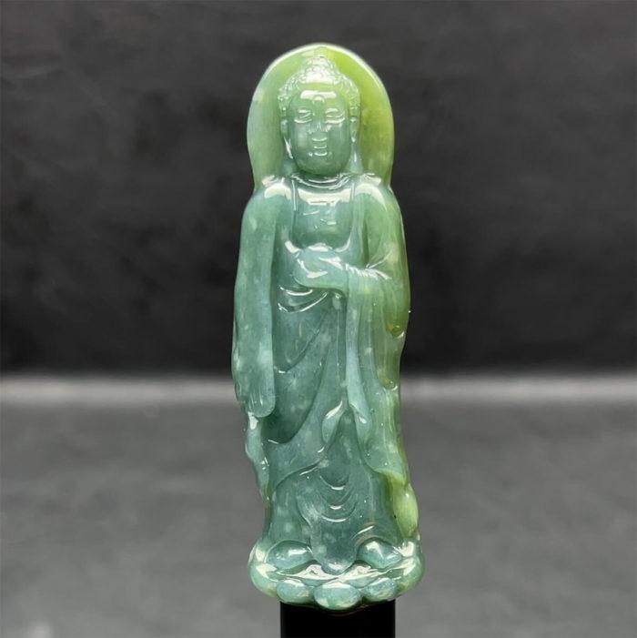 Mặt Phật A Di Đà - Ngọc Cẩm Thạch Lam Dầu - Chuẩn A #MCTA-210116-02 1