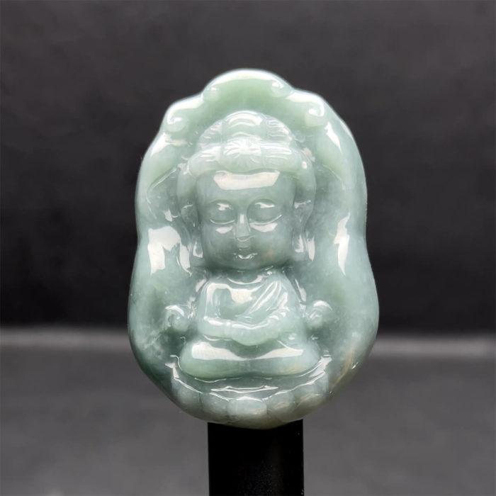Mặt Tiểu Phật Ngọc Cẩm Thạch Lam Dầu - Chuẩn A #MCTA-210116-18 1