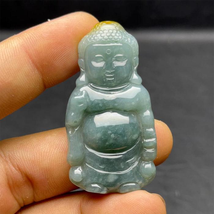 Mặt Phật A Di Đà - Cẩm Thạch Lam Dầu Hoa - Chuẩn A #MCTA-210206-16 1