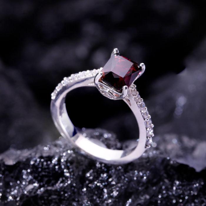 Nhẫn Nữ - Bạc - Đá Garnet - Ngọc Hồng Lựu - Tự Nhiên #NGN-210605-01 1