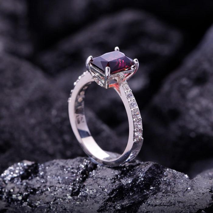 Nhẫn Nữ - Bạc - Đá Garnet - Ngọc Hồng Lựu - Tự Nhiên #NGN-210605-01 2