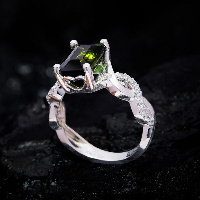 Nhẫn Nữ - Bạc - Đá Peridot Tự Nhiên #NPE-210630-03 1