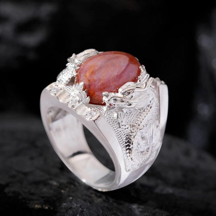 Nhẫn Nam - Bạc - Đá Ruby Sao Tự Nhiên #NRB-210626-02 2