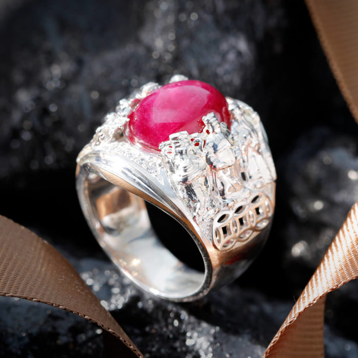 Nhẫn Nam - Bạc - Đá Ruby Tự Nhiên #NRB-210626-03 1
