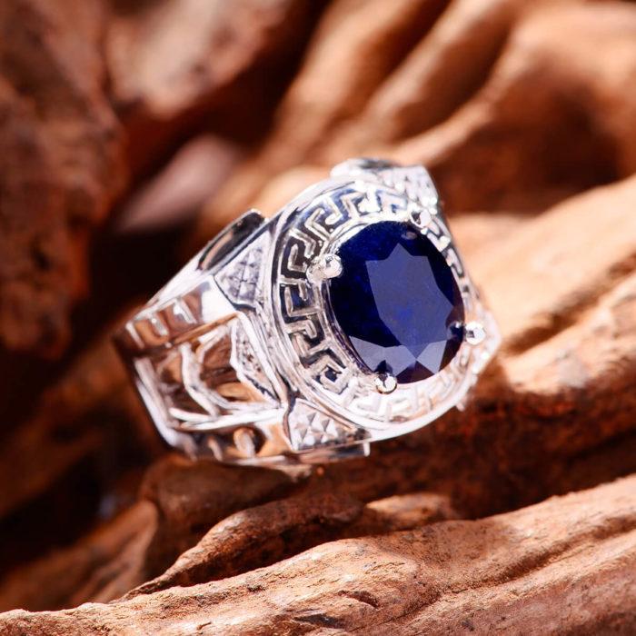 Nhẫn Nam - Bạc - Đá Sapphire Tự Nhiên #NSP-210605-01 1