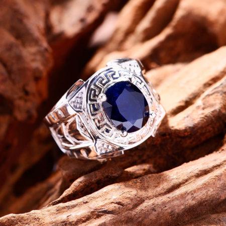 Nhẫn Nam - Bạc - Đá Sapphire Tự Nhiên #NSP-210605-01 3