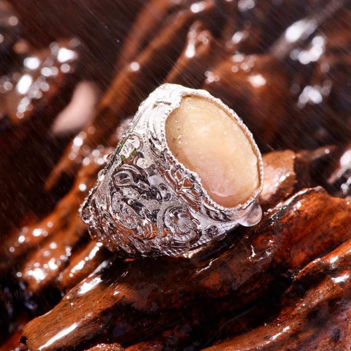 Nhẫn Nam - Bạc - Đá Sapphire Vàng Tự Nhiên #NSP-210605-02 1