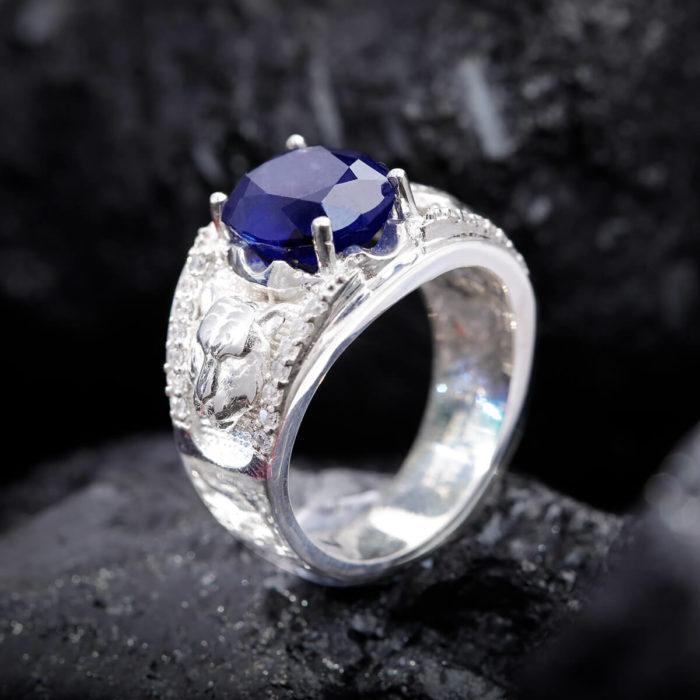 Nhẫn Nam - Bạc - Đá Sapphire Tự Nhiên #NSP-210626-01 1