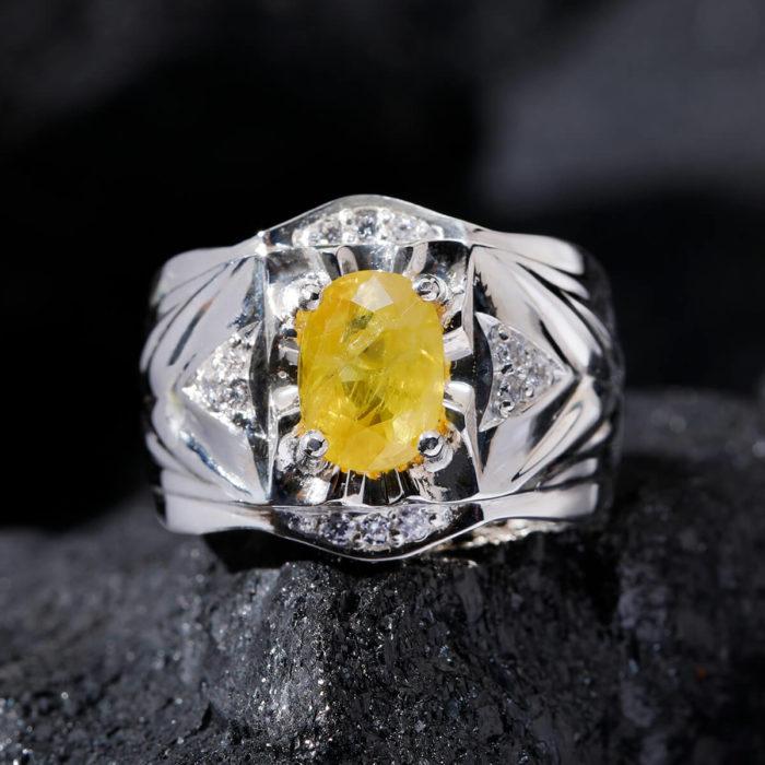 Nhẫn Nam - Bạc - Đá Sapphire Vàng Tự Nhiên #NSP-210626-03 1