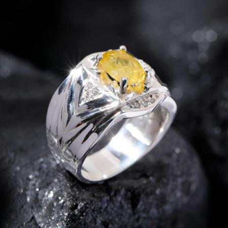 Nhẫn Nam - Bạc - Đá Sapphire Vàng Tự Nhiên #NSP-210626-03 3