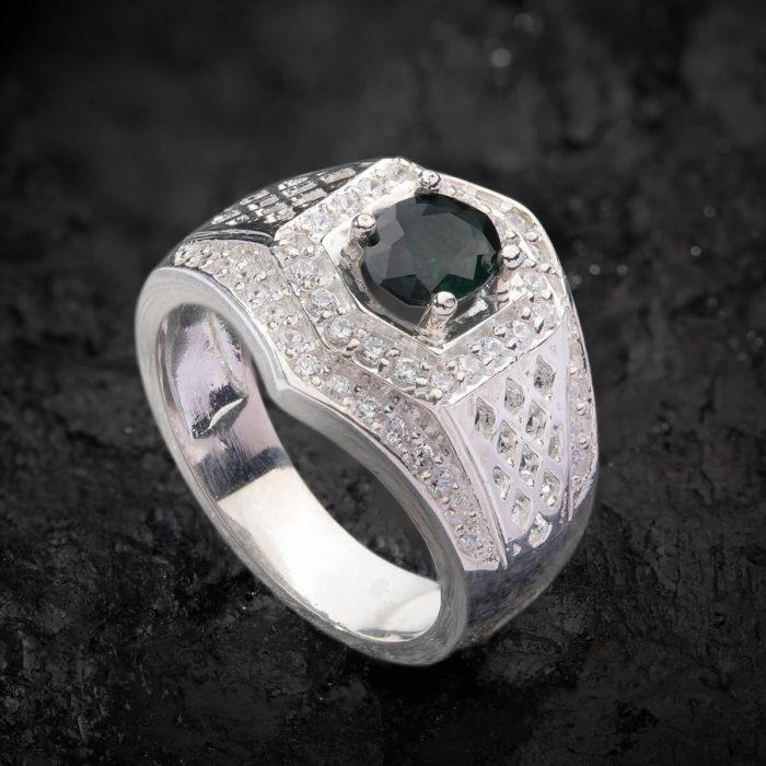 Nhẫn Nam - Bạc - Đá Sapphire Phan Thiết Tự Nhiên #NSP-210626-04 1