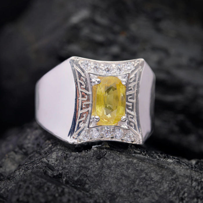 Nhẫn Nam - Bạc - Đá Sapphire Vàng Tự Nhiên #NSP-210626-05 1