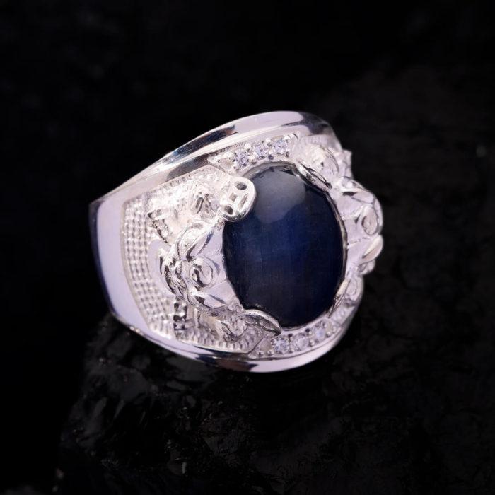 Nhẫn Nam - Bạc - Đá Sapphire Phan Thiết Tự Nhiên #NSP-210626-06 1