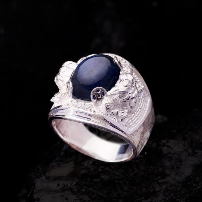 Nhẫn Nam - Bạc - Đá Sapphire Phan Thiết Tự Nhiên #NSP-210626-06 2