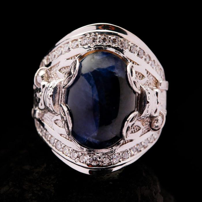 Nhẫn Nam - Bạc - Đá Sapphire Tự Nhiên #NSP-210626-07 1