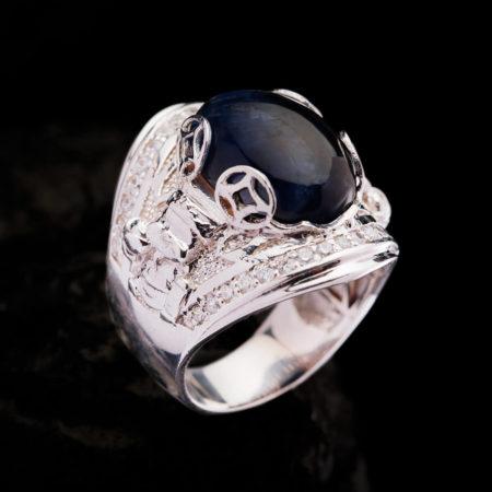 Nhẫn Nam - Bạc - Đá Sapphire Tự Nhiên #NSP-210626-07 4