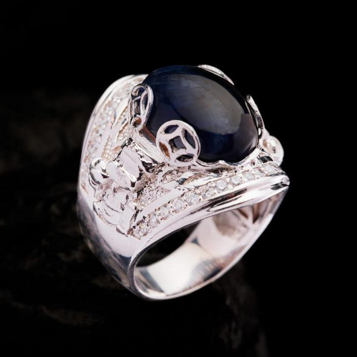 Nhẫn Nam - Bạc - Đá Sapphire Tự Nhiên #NSP-210626-07 2