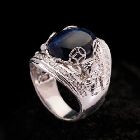 Nhẫn Nam - Bạc - Đá Sapphire Tự Nhiên #NSP-210626-07 5