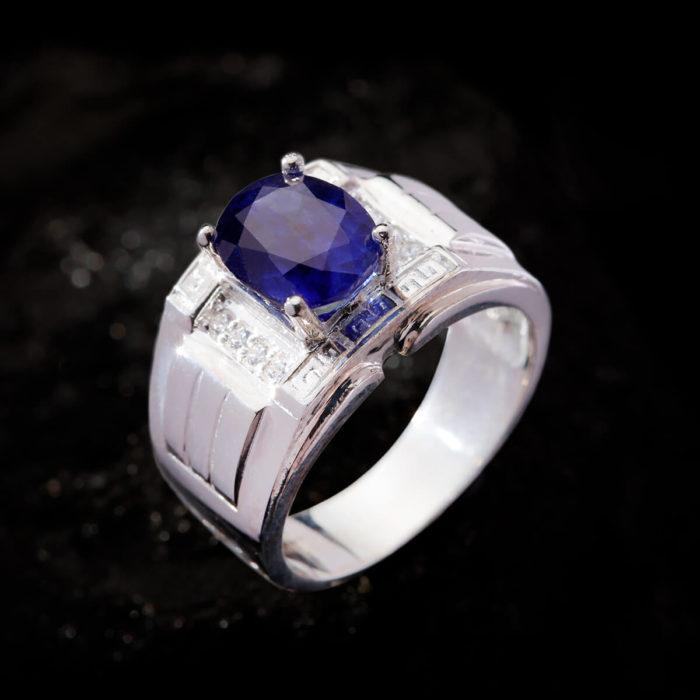 Nhẫn Nam - Bạc - Đá Sapphire Tự Nhiên #NSP-210626-08 1