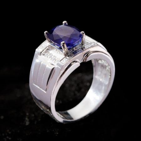Nhẫn Nam - Bạc - Đá Sapphire Tự Nhiên #NSP-210626-08 3