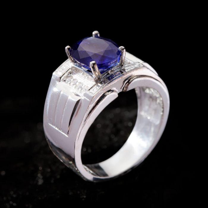 Nhẫn Nam - Bạc - Đá Sapphire Tự Nhiên #NSP-210626-08 2