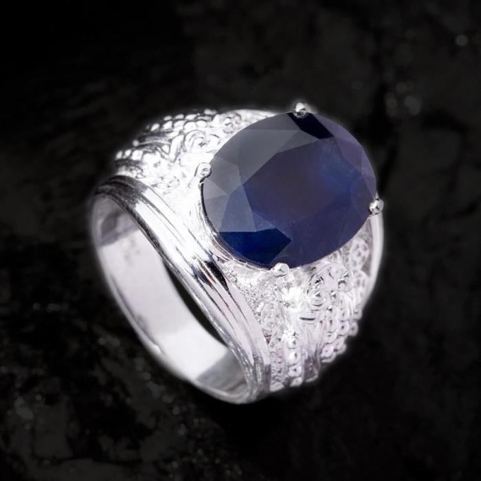 Nhẫn Nam - Bạc - Đá Sapphire Phan Thiết Tự Nhiên #NSP-210626-09 1