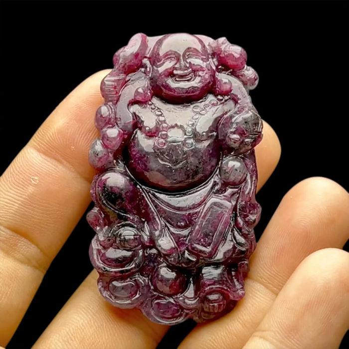 Mặt Phật Di Lặc - Đá Ruby Phi 3 Màu Tự Nhiên #MRB-210721-01 1