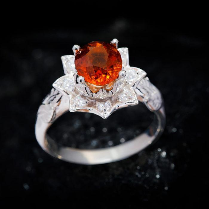 Nhẫn Nữ - Bạc - Đá Garnet Cam - Ngọc Hồng Lựu - Tự Nhiên #NGN-210630-01 1