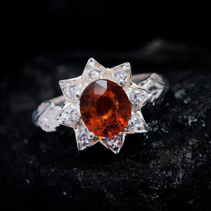 Nhẫn Nữ - Bạc - Đá Garnet Cam - Ngọc Hồng Lựu - Tự Nhiên #NGN-210630-01 2